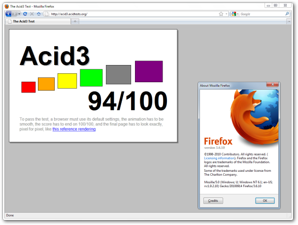 Firefox 3.6 - Acid3 Score: 94%