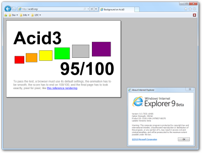 IE9 Beta - Acid3 Score: 95%